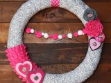 Diy Valentine Wreath In Pink And Gray