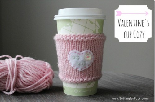 DIY Valentine's Day Cup Cozy