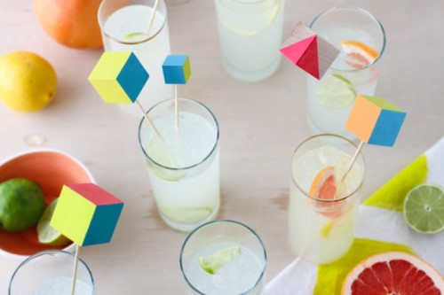 Diy Vibrant Wood Block Drink Stirrers