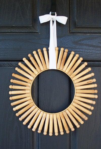 DIY Vintage Clothespin Wreath - Shelterness