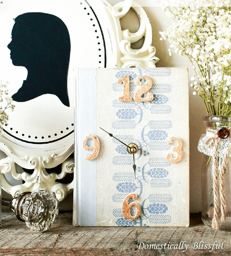 Picture Of diy vintage inspired clock from an old book  2