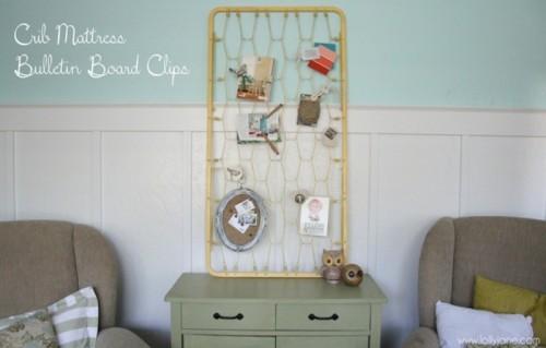 DIY Vintage Mattress Bulletin Board With Clips