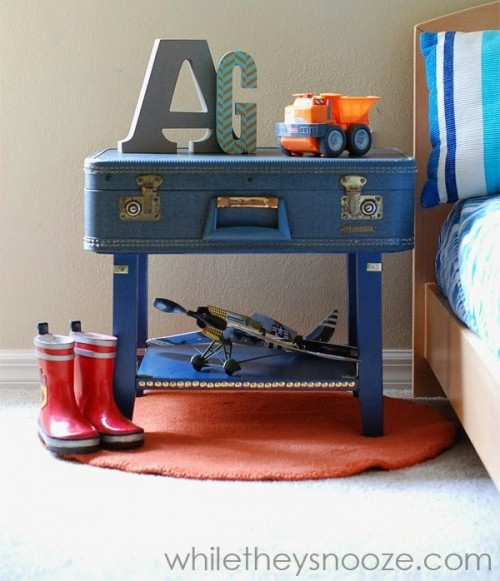 DIY Vintage Suitcase Bedside Table - Shelterness