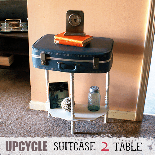 vintage suitcase hallway table (via savedbylovecreations)