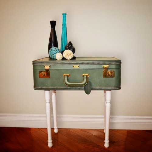 green vintage suitcase table (via thediydiary)