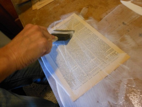 Diy Vintage Table With Dictionary Pages Top