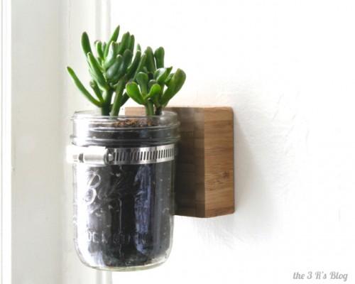 diy wall mason jar planter shelterness