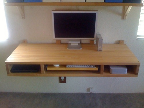 Diy Floating Desk Of Two Ikea S Countertops Shelterness