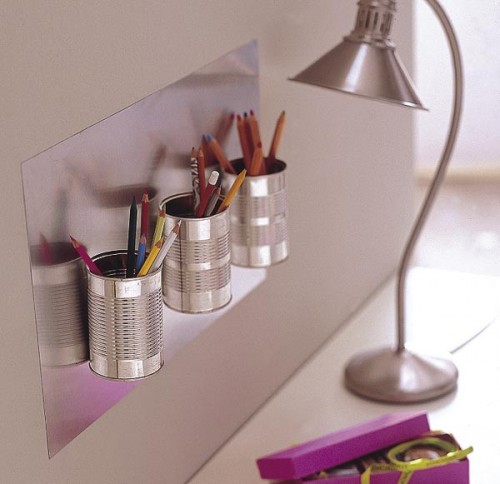 DIY Wall Pencil Organizer Of Tin Cans