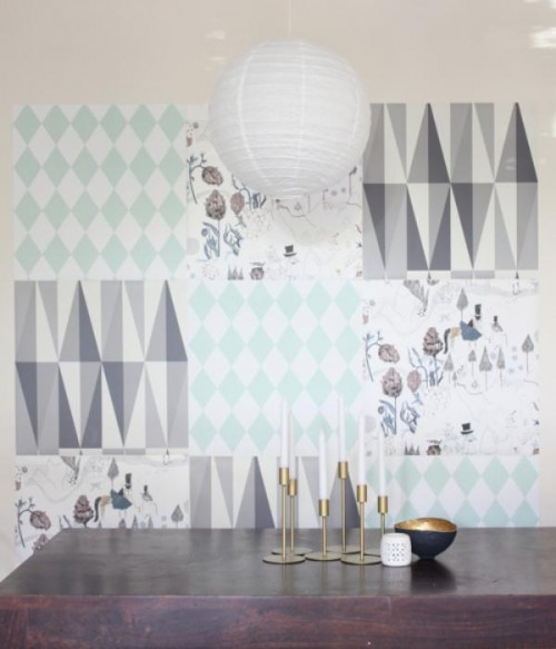 Great DIY Wallpaper Mosaic To Decorate Your Walls