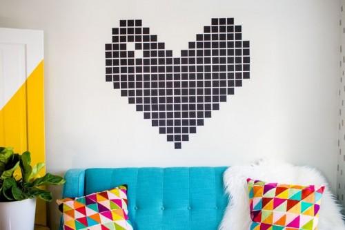 DIY Washi Tape Heart Wall Decor