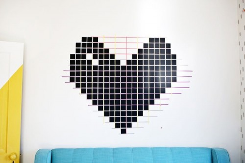 DIY Washi Tape Heart Wall Decor