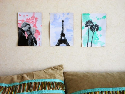 watercolor and photo wall art (via laughalittleharder)