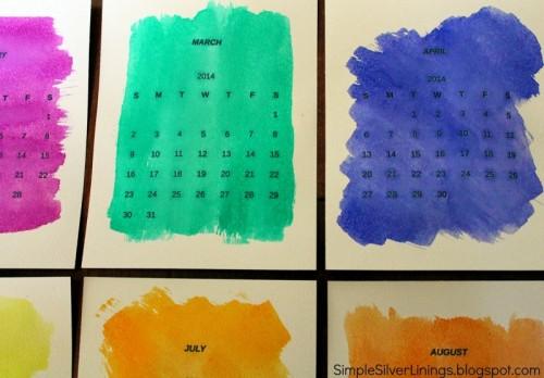 watercolor desk calendar