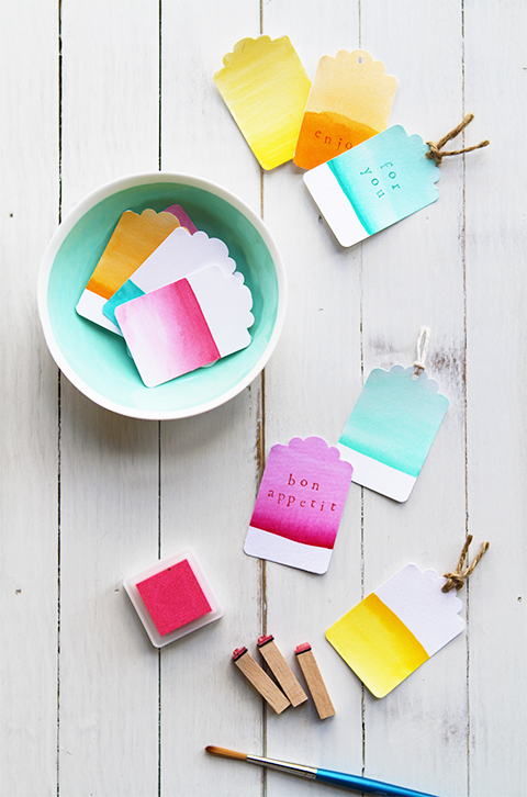watercolor tags (via eatdrinkchic)