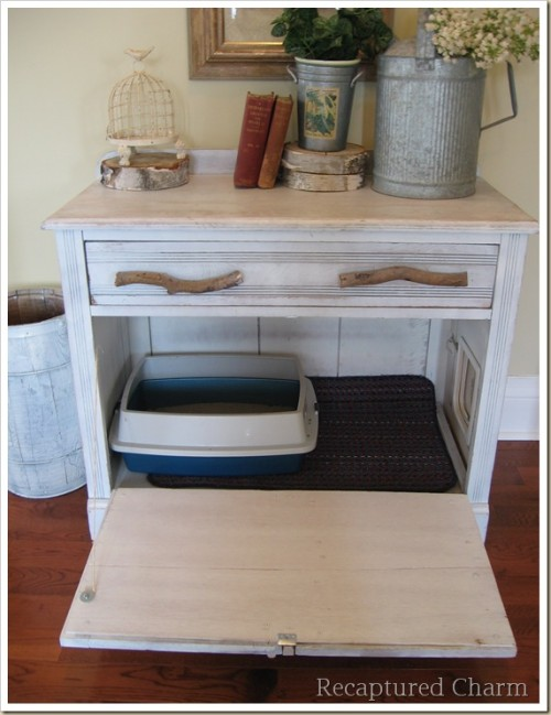 old cabinet into a kitty loo (via homejelly)