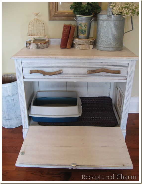 old cabinet into a kitty loo
