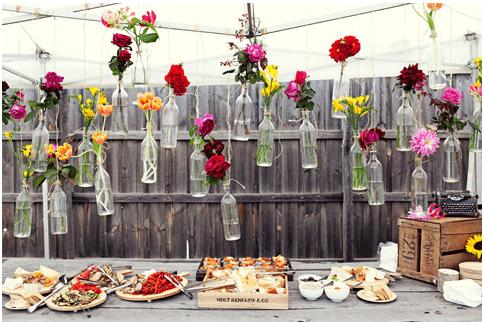 Diy Wedding Floral Arrangment Using Wine Bottles