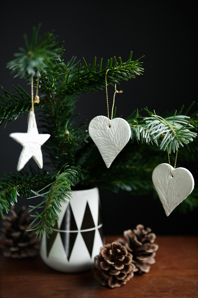 leaf stamped ornaments
