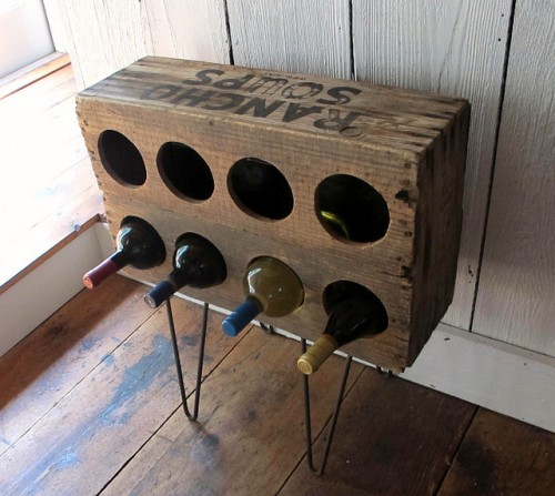 rustic wine rack of a crate (via shelterness)