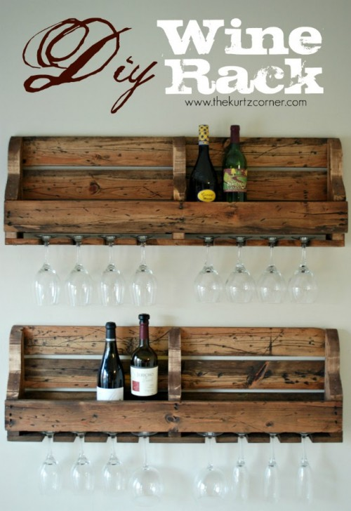 pallet wine rack for bottles and glasses (via thekurtzcorner)