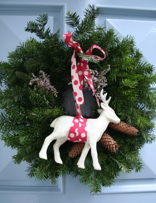 Pine Winter Wreath With a Deer (via)