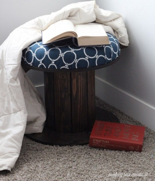 DIY Wire Spool Wooden Stool With Upholstery