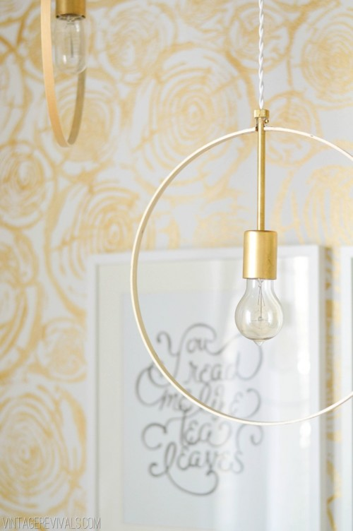 DIY Wood And Brass Hanging Hoop Lights