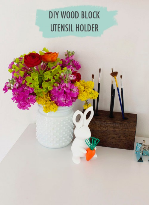 DIY Wood Block Utensil Holder