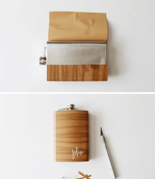DIY Wood Grain Flask For Father's Day