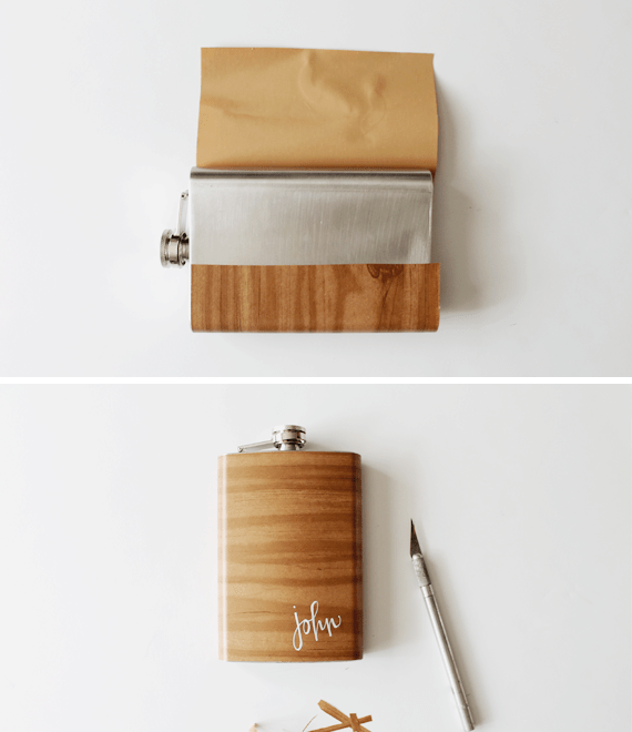 Picture Of diy wood grain flask for fathers day  4