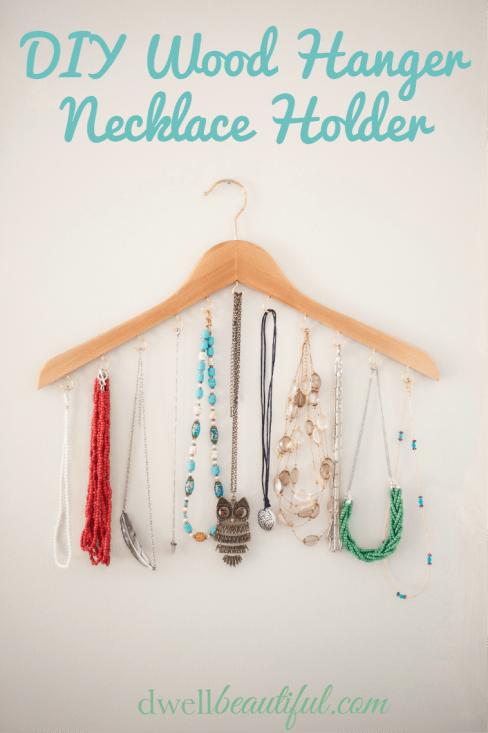 DIY Wood Hanger Necklace Holder