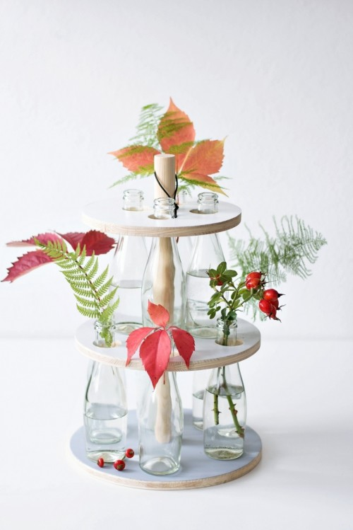 DIY Wooden Bottle Stand For Floral Arrangements