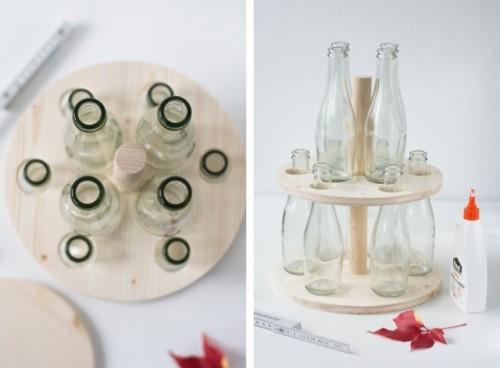 DIY Wooden Bottle Stand For Floral Arrangements