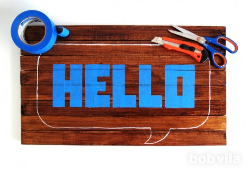 DIY Wooden Doormat With A Cheery Greeting