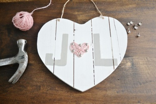 DIY Wooden Heart And String Valentine's Day Art