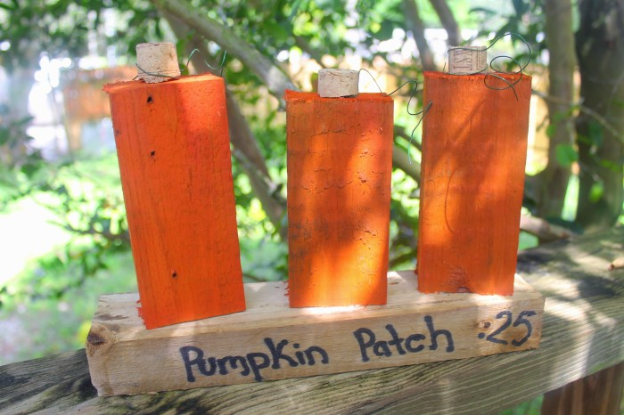 wooden block pumpkin