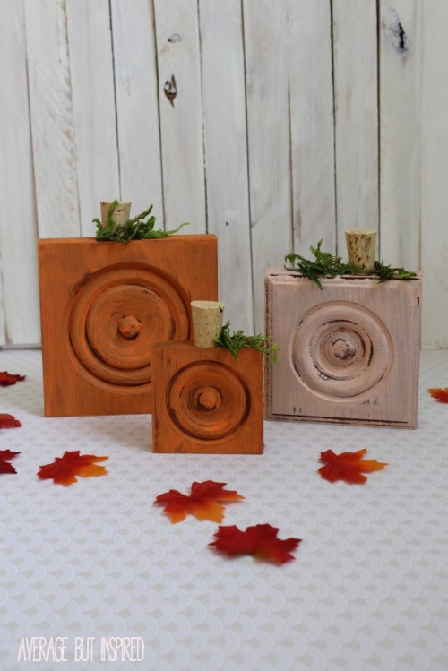 wood trim corner block pumpkins (via averageinspired)