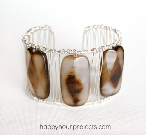 DIY Wrapped Agate Cuff Bracelet