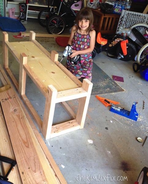 DIY X Leg Wooden Bench With Crate Storage