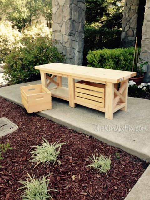 DIY X-Leg Wooden Bench With Crate Storage - Shelterness