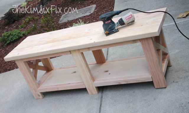 Picture of diy x leg wooden banch with crate storage 5 for Wood crate bench