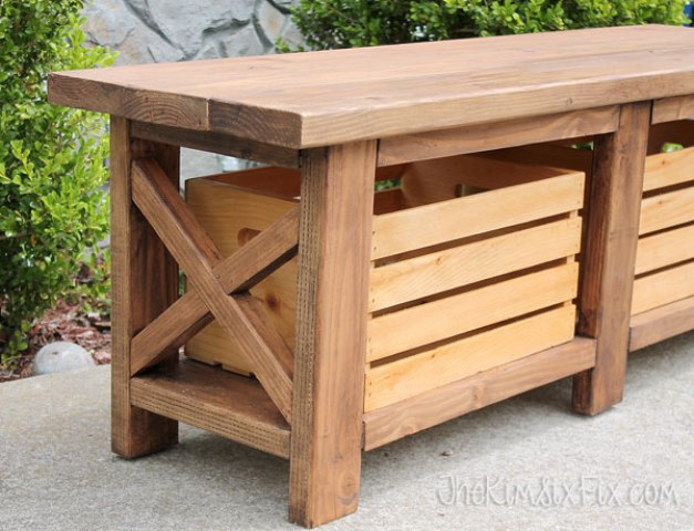 Picture Of diy x leg wooden banch with crate storage  7