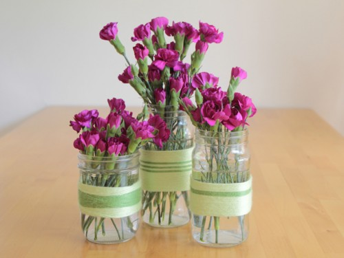 Diy Yarn Mason Jar Vases