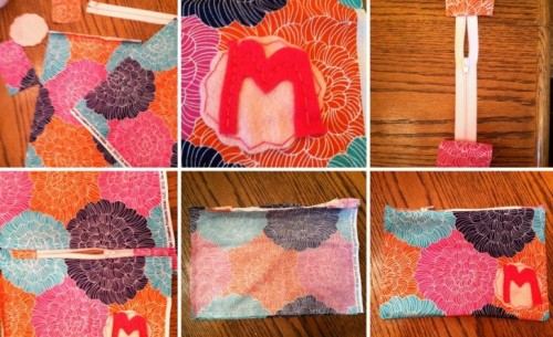 Diy Zippered Pouch With A Felt Monogram