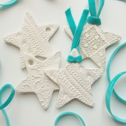 Pretty DIY Embossed Clay Star Decorations