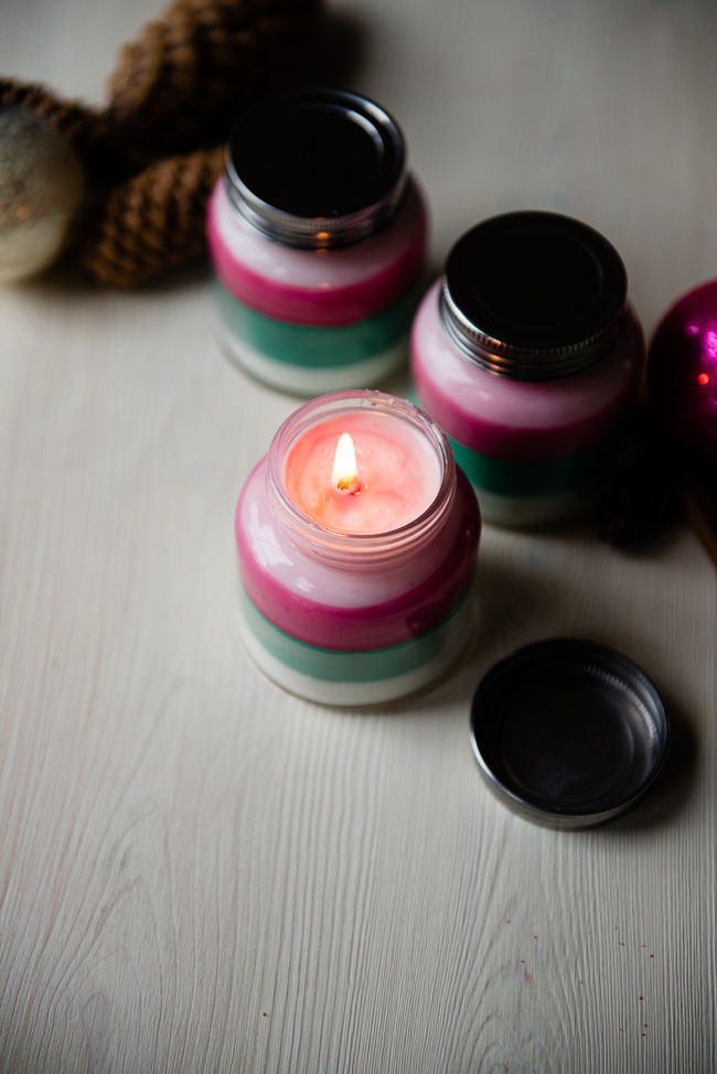 layered scented candles