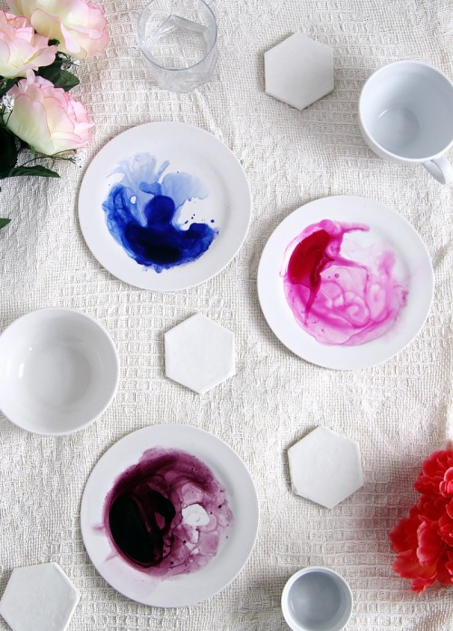 Dreamy DIY Watercolor Tableware To Make