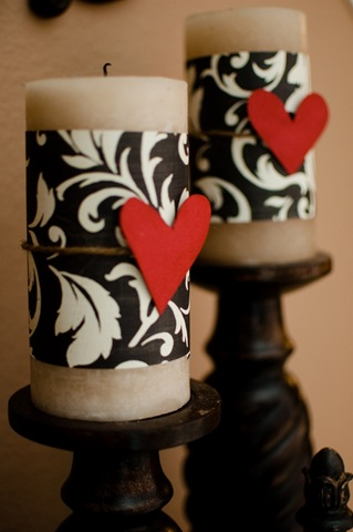 Dressed Up Valentines Day Candles (via pearls-handcuffs-happyhour)