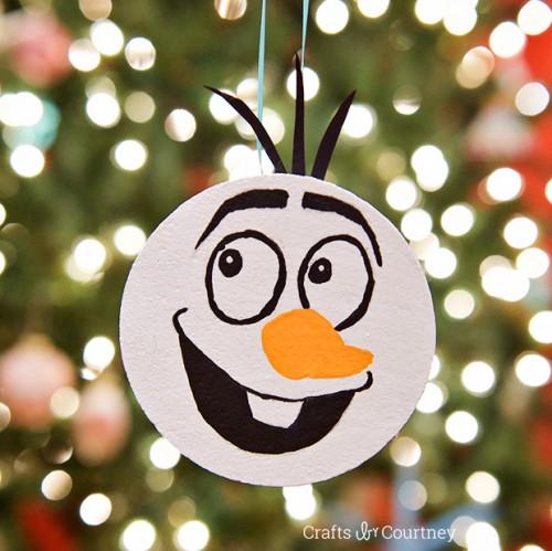 Frozen Olaf ornament (via craftsbycourtney)